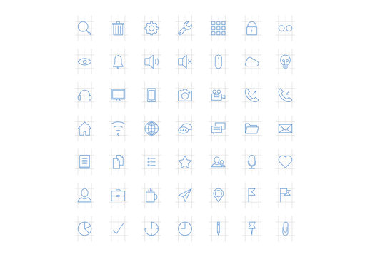 49 Line Art Icons Set with Blueprint Elements