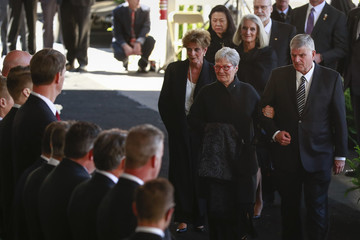 Franklin Graham arrives to attend his father's funeral at the Billy Graham Library in Charlotte