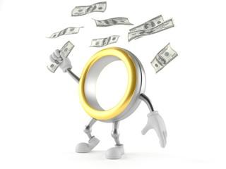Wedding ring character catching money