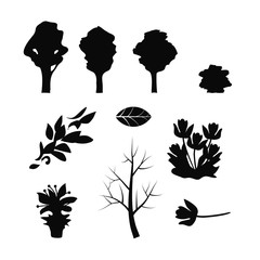set of black tree silhouettes branches of flying leaves of flowers on white isolated background