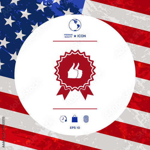 Two Symbols Thumb Up Gesture Label With Ribbons Thumb Up Icon