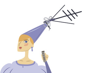 funny cartoon cute princess in a blue dress with a TV antenna on a hat on a white background