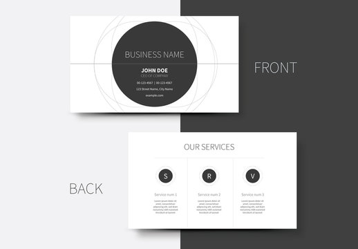 Business Card Layout with Circle and Spiral Elements 1