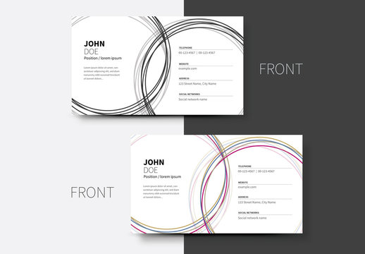 Multicolored Spiral Business Card Layout 2