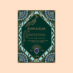 Wedding invitation vector template with peacock icon. Blue and green geometric art deco style card with abstract feathers.