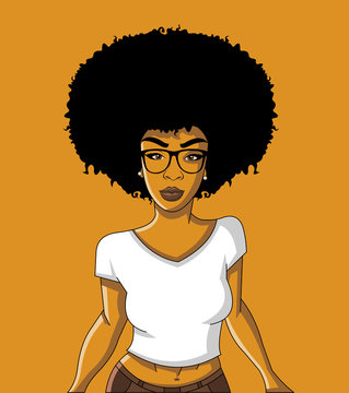 Group of cartoon black woman. African girl.