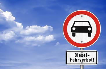 Diesel Fahrverbot - Verkehrszeichen