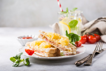Hot fresh hawaii toast sandwich with ham, pineapple, tomato and cheese. Healthy summer food concept with free space for text.