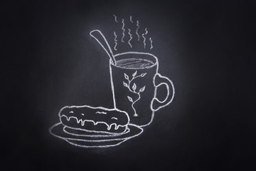 Cup mug with hot chocolate coffee tea glazed eclair on plate. Freehand Chalk Crayon Drawing on Blackboard. Sketch Doodle Style Food Poster Banner Template.
