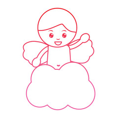 baby angel icon image vector illustration design  pink line