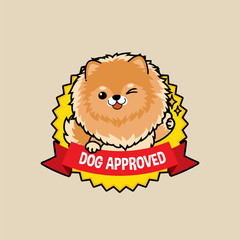 Cute cartoon character design Pomeranian dog on badge design action thumb up , dog approved symbols ,flat style, guarantee vector illustration