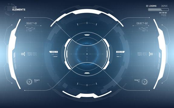 Sci-Fi Futuristic Vector HUD Interface Screen. Virtual Reality View Display