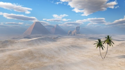 desert of sand with pyramids, sphinx and palm trees