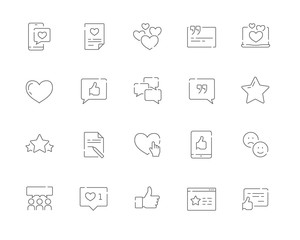 Simple set of Testimonials and and customer relationship management vector line web icons. Contains such Icons as Customer Review, Feedback and more. Editable Stroke. 48x48 Pixel Perfect.