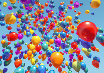 colorful Balloons Flying to the sky - 3D Rendering