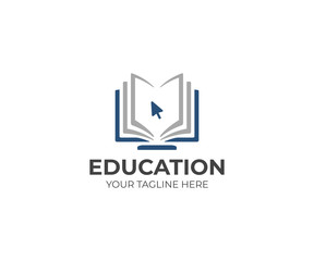 Online education logo template. Distance learning vector design. Computer monitor and open book illustration