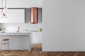 White and bronze kitchen interior, wall