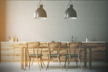 Wooden table with gray and wooden chairs, kitchen