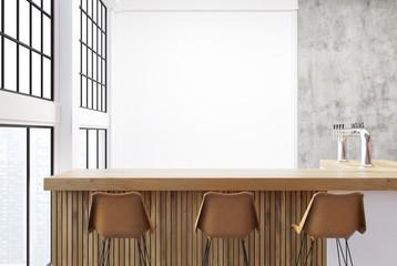 Loft bar corner, white walls