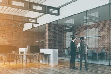 Loft open space office, brick side toned