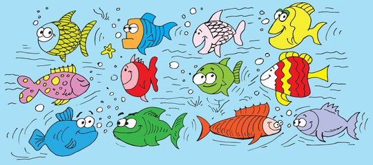 Collection of hand drawn funny fishes