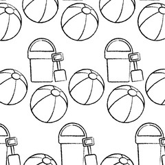 bucket shovel ball beach pattern image vector illustration design  black sketch line