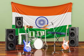 Music, rock bands from India concept, 3D rendering