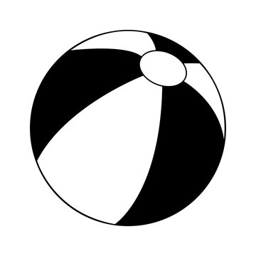 beach ball icon image vector illustration design  black and white