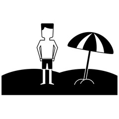 man in the beach icon image vector illustration design  black and white