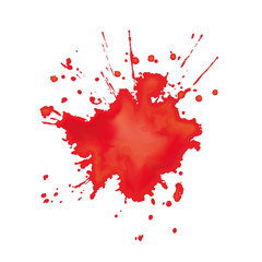 Digital created imitation of watercolor red stain. Vector illustrator.