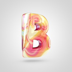 Glossy holographic letter B uppercase isolated on white background