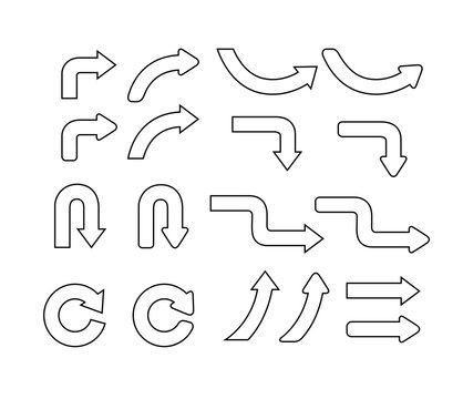Set of curve outline arrows. Collection of pointers. Vector illustration