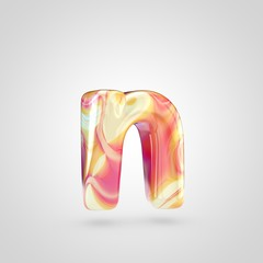 Glossy holographic letter N lowercase isolated on white background