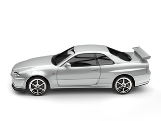 Super silver urban sports car - top down side view