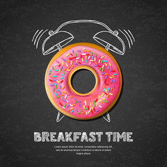 Tasty pink glazed donut, letters and hand drawn watercolor alarm clock on textured black board slate background. Vector design for breakfast menu, cafe, bakery. Fast food background.