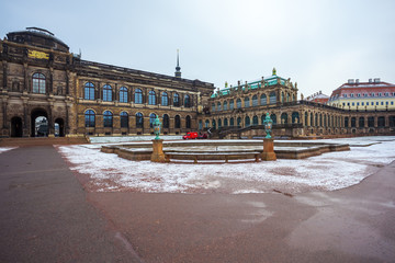 View to the historical buildings of the famous Zwinger palace in Dresden, Germany