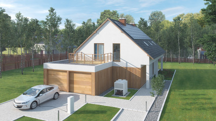 Modernes Energisparhaus mit E-Auto Garten zur Altersvorsorge