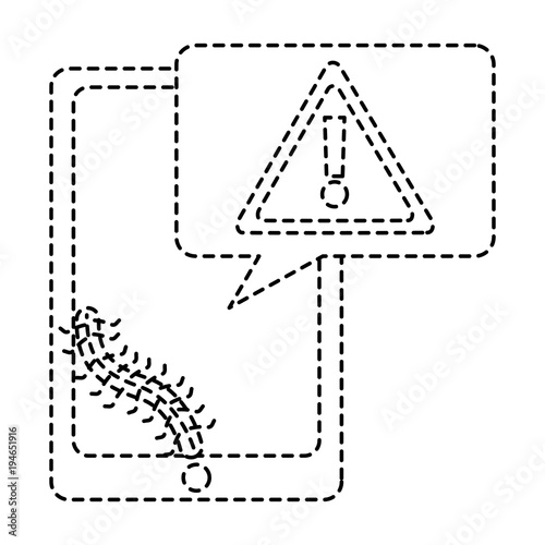 mobile phone and worm virus message alert vector illustration dotted line design