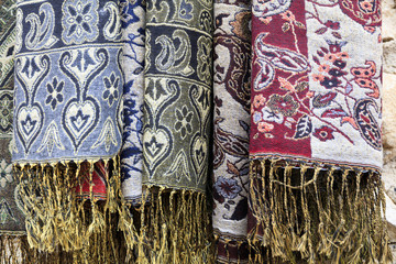 Europe, Romania. Brasov. Romanian embroidery, stitching and weavings.