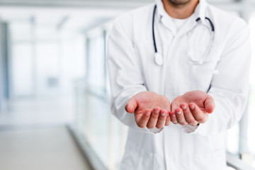 The concept of giving doctor's open palm