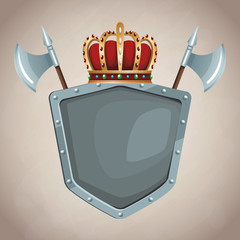 Medieval army emblem with shield vector illustration graphic design