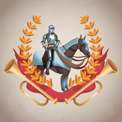 Medieval army emblem with warriors vector illustration graphic design