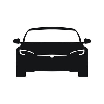 Electric car front view vector icon