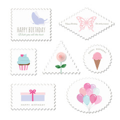 Cute postage stamps for birthday or scrapbook design. Decorative stickers for girls.