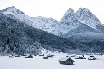 Cabins below the German Alps