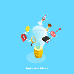 set of business icons around a light bulb and a rocket, an isometric image, business ideas