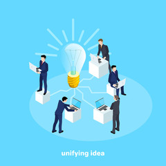 men in business suits work behind computers connected to a light bulb generating a business idea, an isometric image