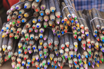 Close-up of a variety of colored pencils for sale.