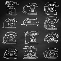 Sketch of set retro phone isolated on the chalkboard. Vector illustration.