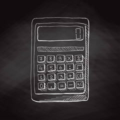 Hand drawn calculator on black chalkboard. Vector illustration in sketch style.